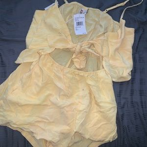 NWT Nordstrom Yellow Cutout Romper Size S